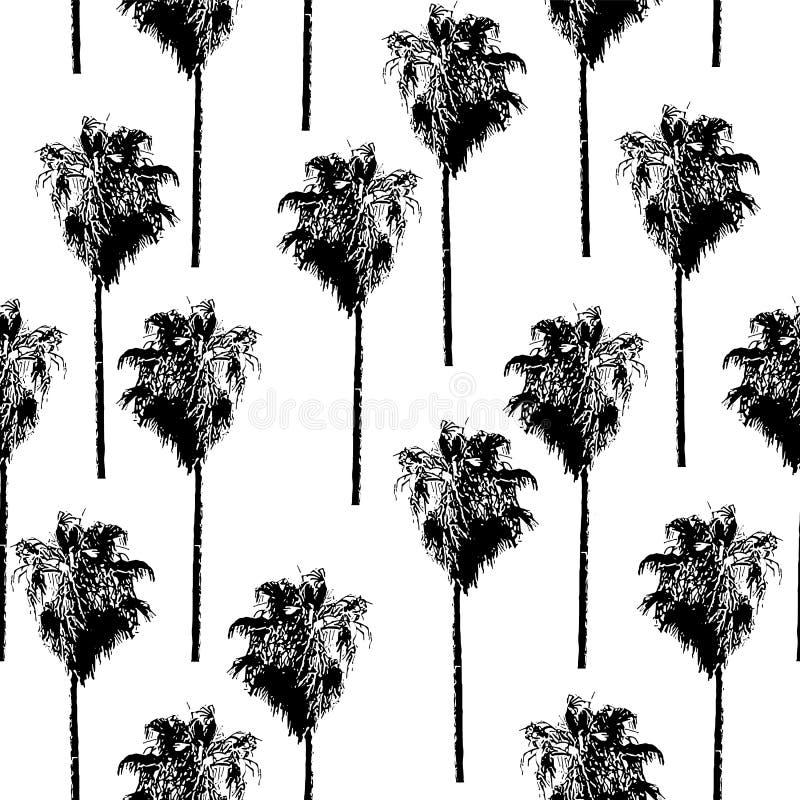 Teste padrão sem emenda do vetor das palmeiras Retro-inspirado Preto em um fundo branco ilustração stock