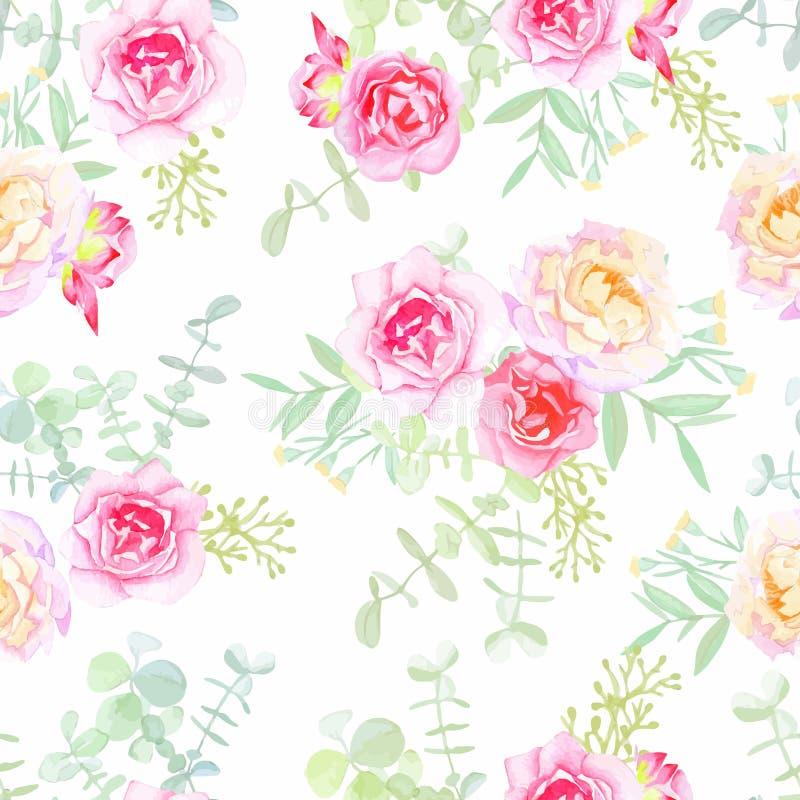 Teste padrão sem emenda do vetor das rosas delicadas no estilo chique gasto ilustração do vetor
