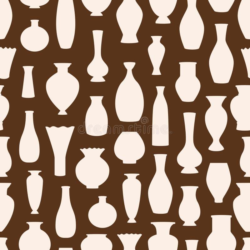 Teste padrão sem emenda do vetor das silhuetas dos vasos Fundo antigo das bacias ilustração do vetor