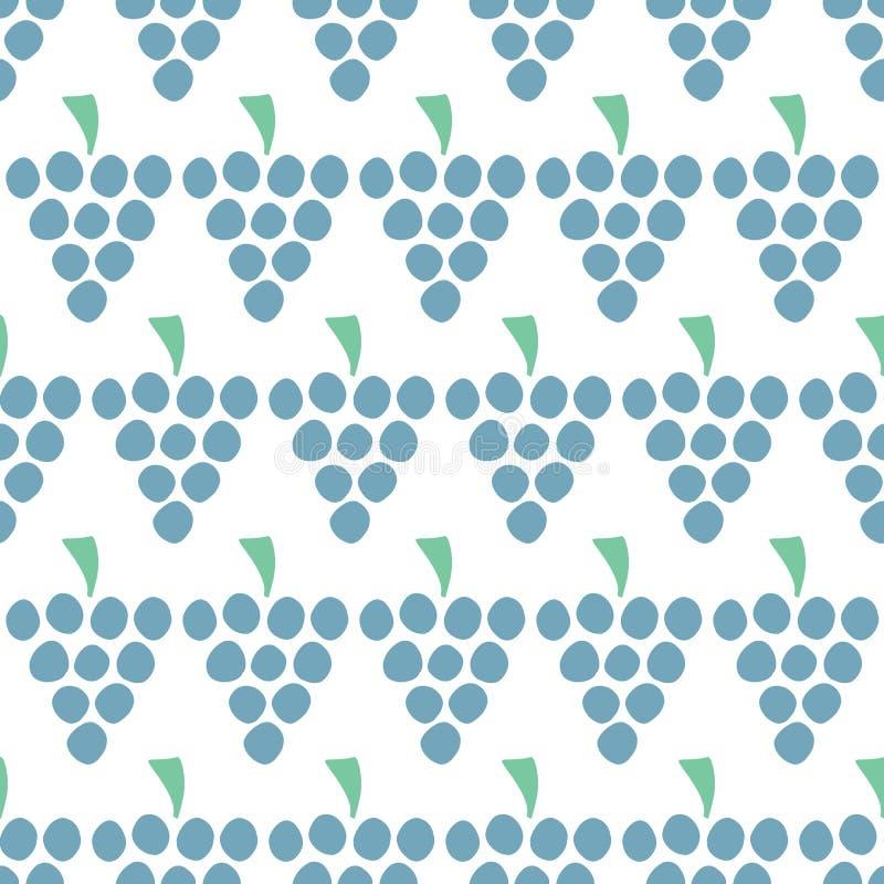 Teste padrão sem emenda do vetor das uvas isolado Bagas azuis do suco no branco Fundo do alimento Ilustração do fruto Uso para o  ilustração royalty free