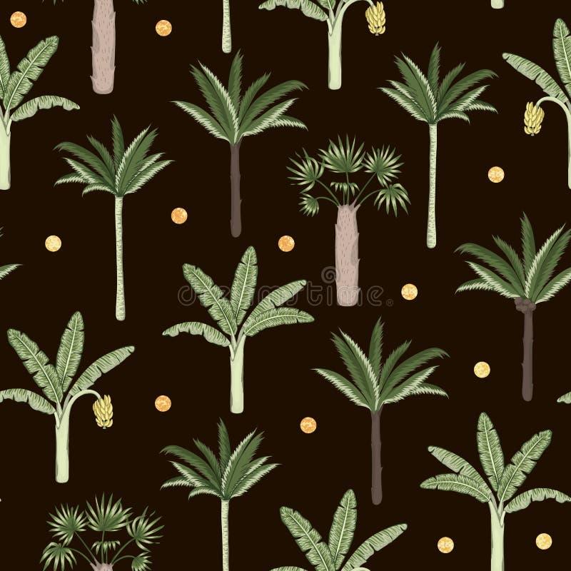 Teste padrão sem emenda do vetor de árvores da palma e de banana com confetes dourados no fundo preto ilustração stock
