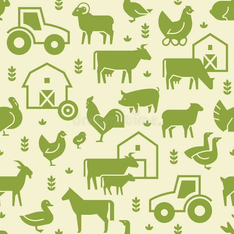 Teste padrão sem emenda do vetor de animais de exploração agrícola, de construções, de equipamento e de outros elementos no verde ilustração royalty free