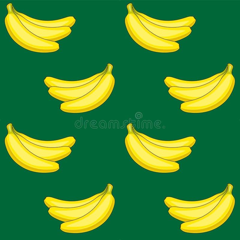 Teste padrão sem emenda do vetor de bananas amarelas em um greenbackground Fruta amarela ilustração stock