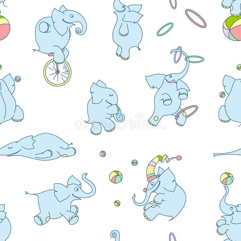 Teste padrão sem emenda do vetor de elefantes bonitos dos desenhos animados Palhaços dos elefantes do circo com bolas, aros, unic ilustração royalty free