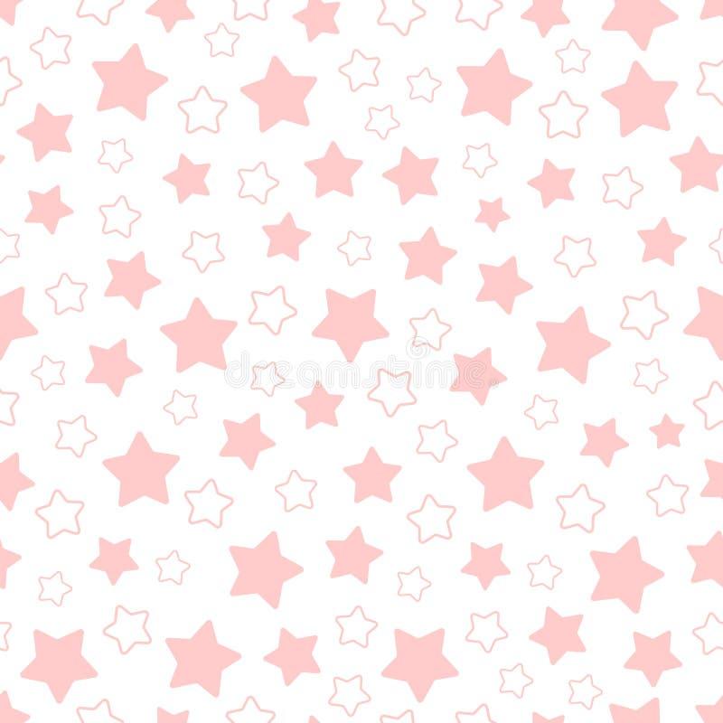 Teste padrão sem emenda do vetor de estrelas pentagonais cor-de-rosa foto de stock royalty free