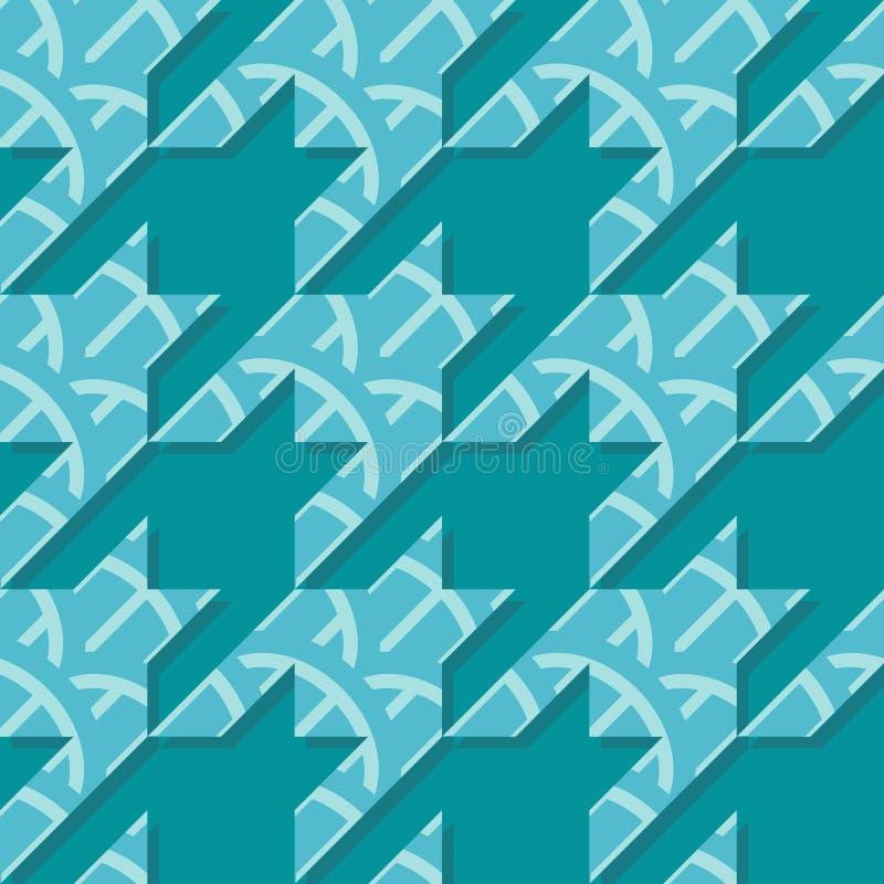 Teste padrão sem emenda do vetor de Houndstooth em cores de turquesa ilustração stock