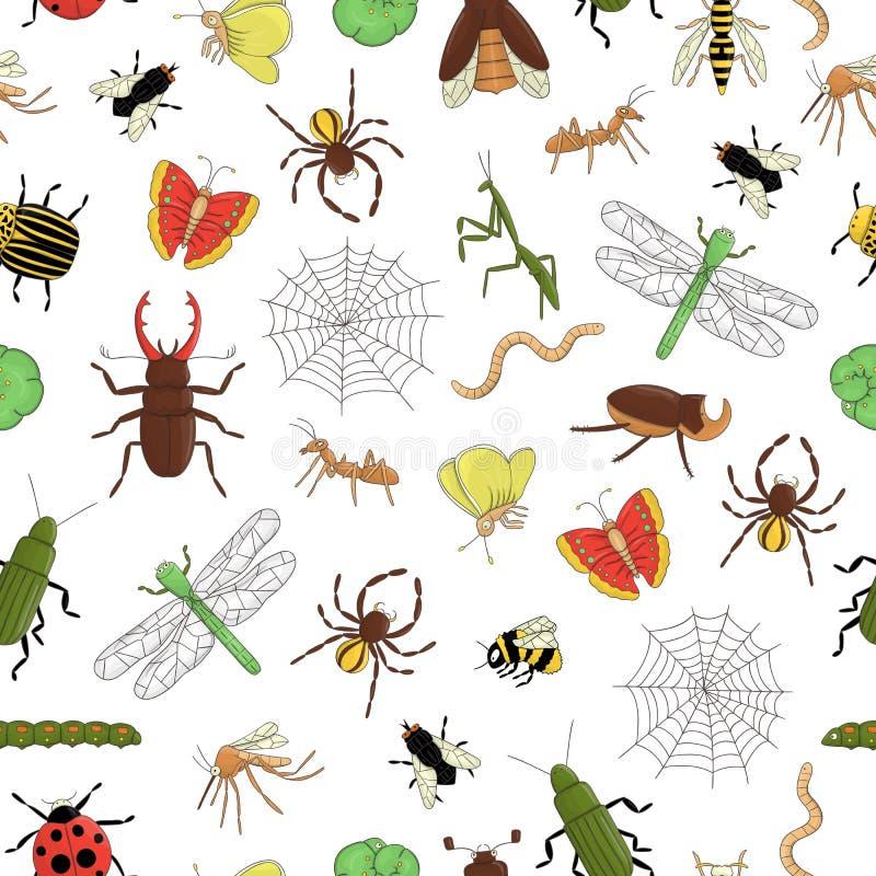 Teste padrão sem emenda do vetor de insetos coloridos Repita o fundo com a abelha brilhante isolada, tropeçar a abelha, besouro ilustração royalty free