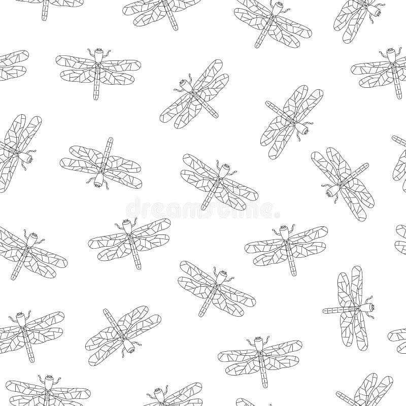 Teste padr?o sem emenda do vetor de insetos preto e branco ilustração royalty free