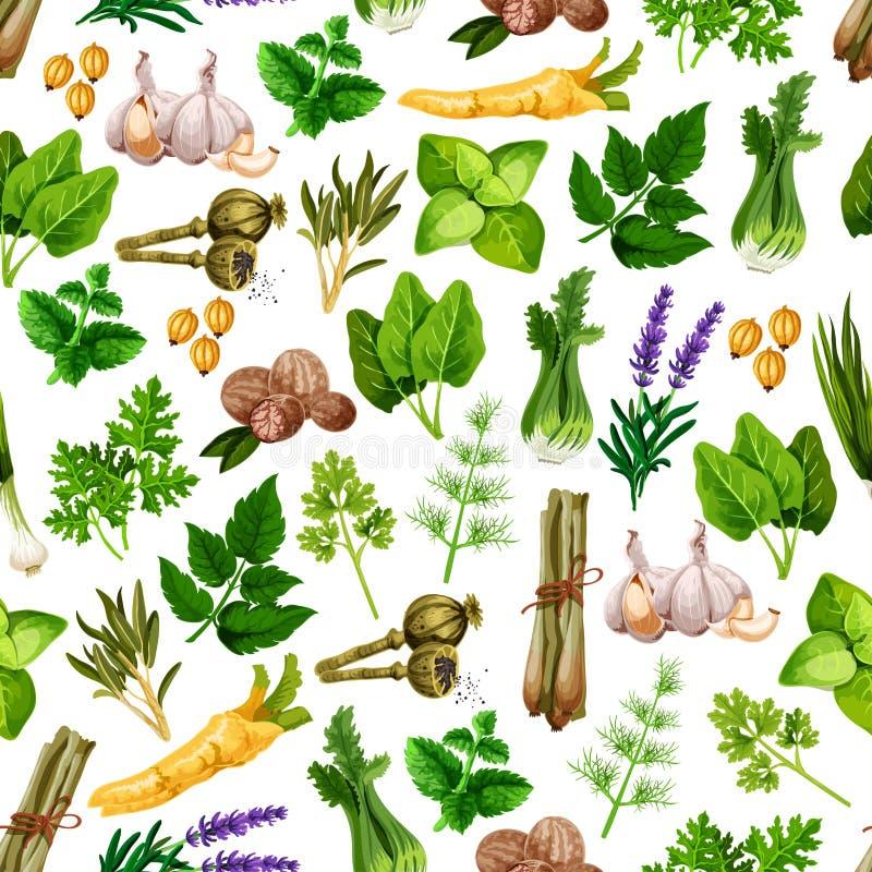 Teste padrão sem emenda do vetor de temperos da erva da especiaria ilustração royalty free