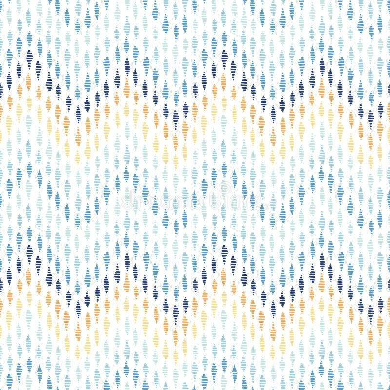 Teste padrão sem emenda do vetor desenhado à mão colorido de Chevron Ondinhas estilizados abstratas da água Fundo da associação d ilustração royalty free