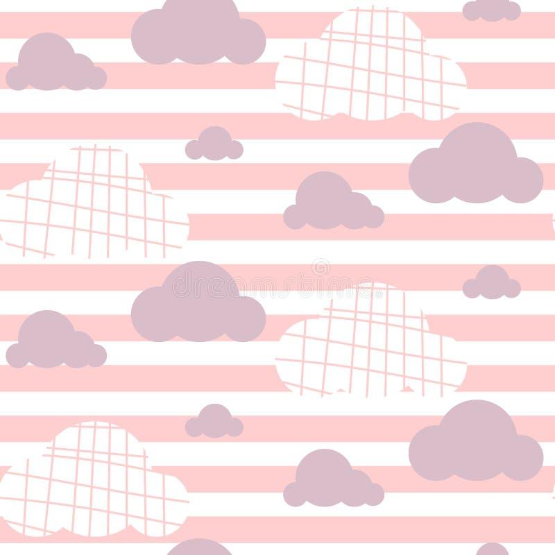 Teste padrão sem emenda do vetor do bebê Luz - cópia cor-de-rosa do céu do divertimento para a matéria têxtil ilustração royalty free