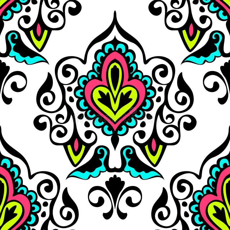 Teste padrão sem emenda do vetor do damasco luxuoso floral ilustração stock