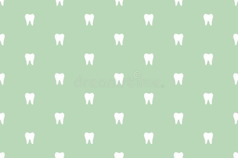 Teste padrão sem emenda do vetor do dente - dentes brancos simples ilustração stock