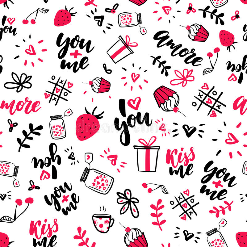 Teste padrão sem emenda do vetor do dia do Valentim s Os desenhos artísticos isolados da garatuja, rotulação, amor citam ilustração royalty free