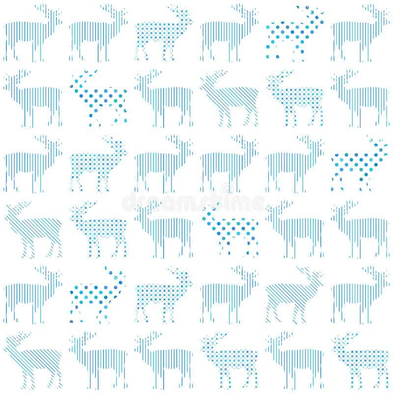 Teste padrão sem emenda do vetor do feriado do Natal dos cervos ilustração stock