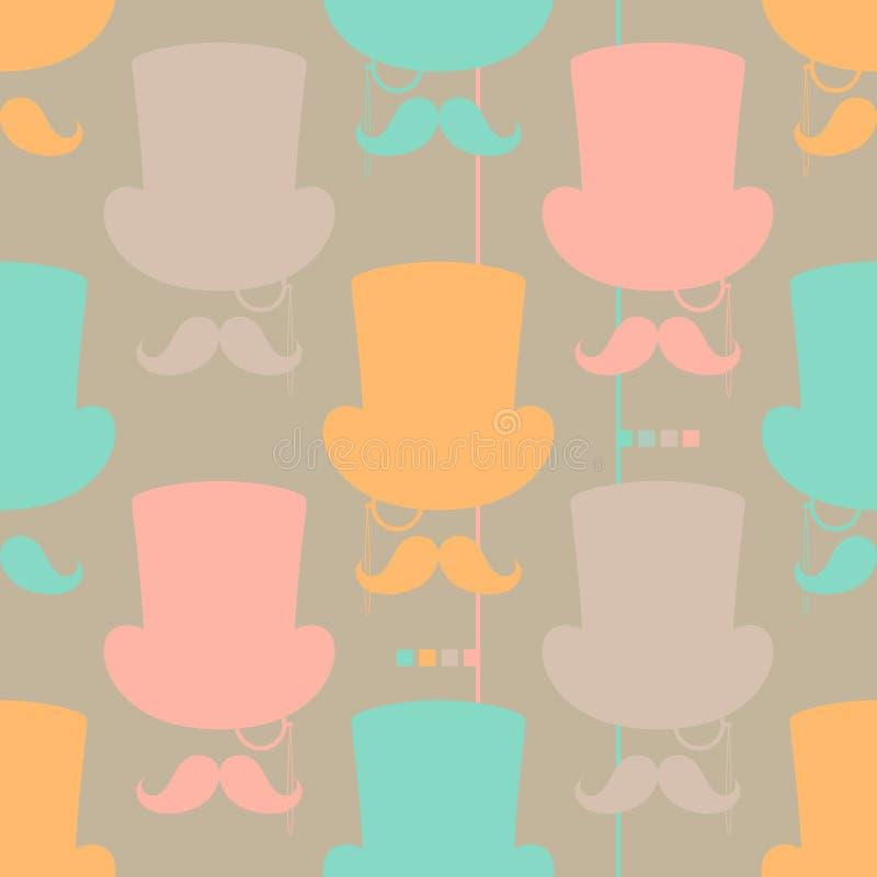 Teste padrão sem emenda do vetor do Moustache ilustração royalty free