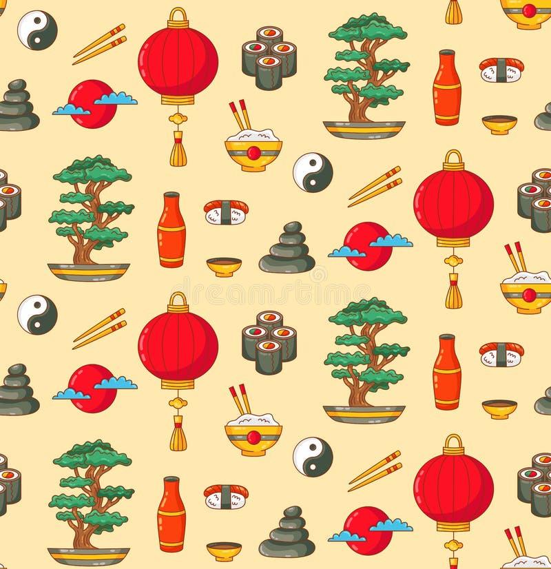 Teste padrão sem emenda do vetor dos ícones da garatuja de Japão ilustração royalty free
