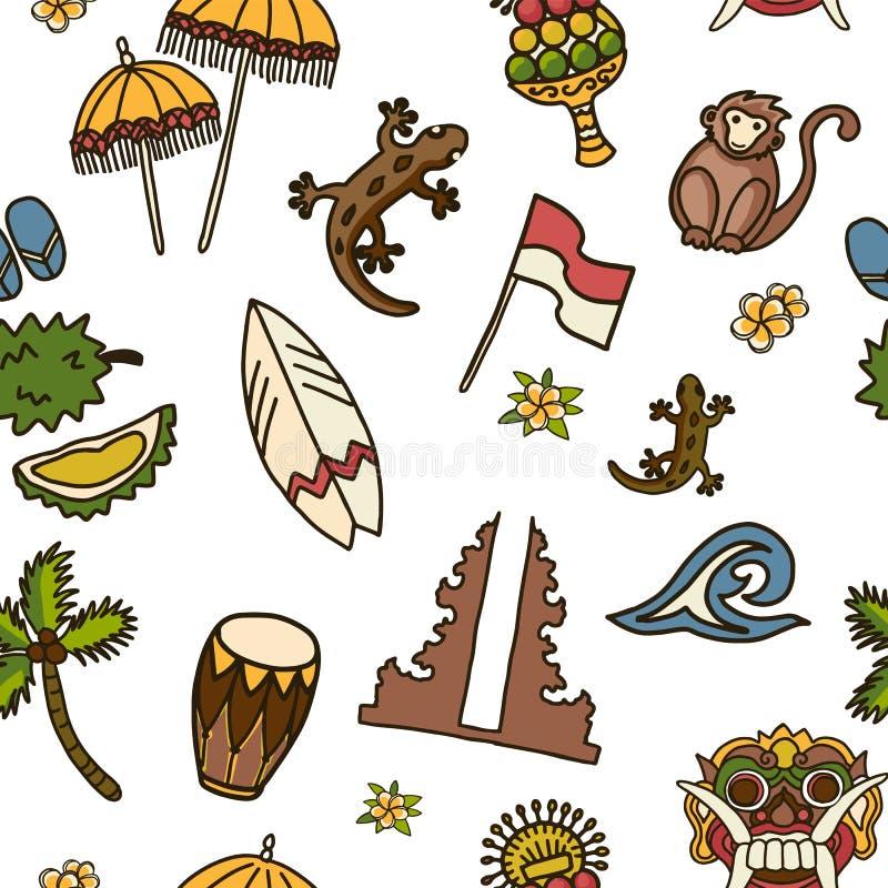 Teste padrão sem emenda do vetor dos ícones de Bali ilustração do vetor