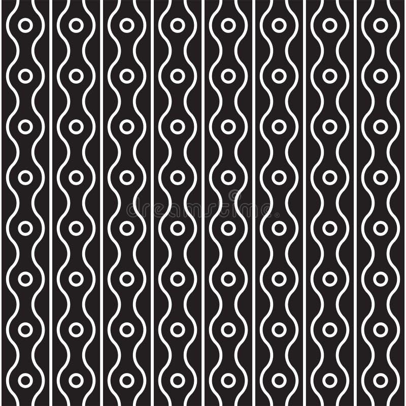 Teste padrão sem emenda do vetor dos anéis, de linhas retas e onduladas verticais Fundo abstrato moderno simples Monochrome abstr ilustração stock