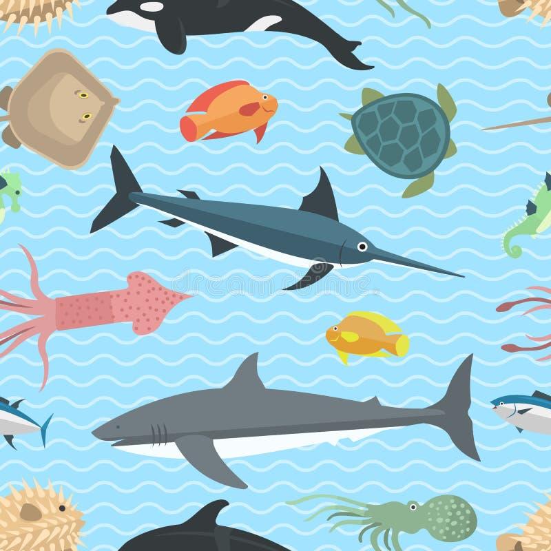 Download Teste Padrão Sem Emenda Do Vetor Dos Animais De Mar Ilustração do Vetor - Ilustração de isolado, polvo: 80100709