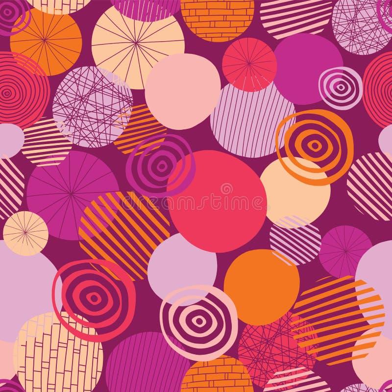 Teste padrão sem emenda do vetor dos círculos da garatuja Fundo geométrico abstrato dos pontos Formas geométricas rosa, laranja,  ilustração royalty free