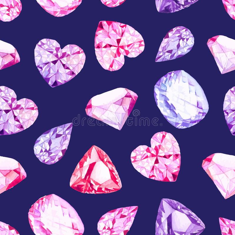 Teste padrão sem emenda do vetor dos cristais do diamante da marinha ilustração do vetor