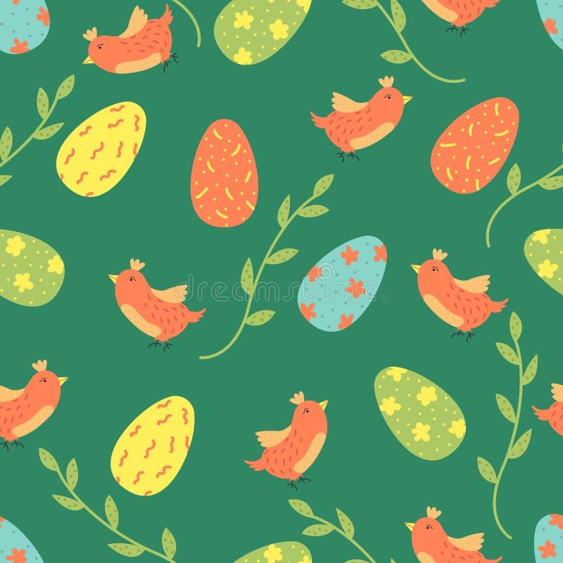 Teste padrão sem emenda do vetor dos desenhos animados com ovos da páscoa e pássaros Projeto brilhante do fundo ilustração do vetor