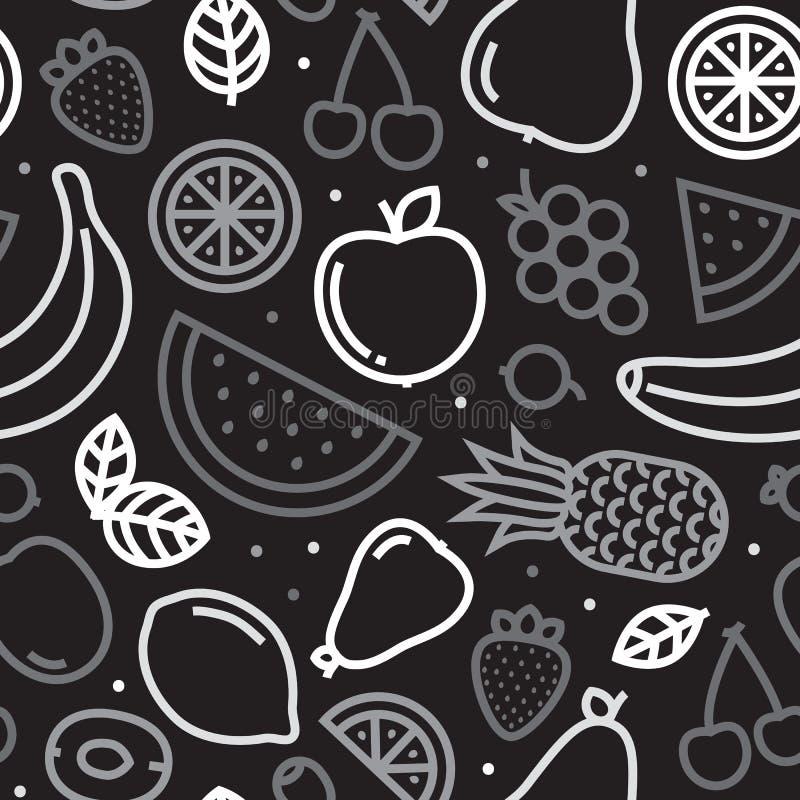 Teste padrão sem emenda do vetor dos frutos Greyscale ilustração stock
