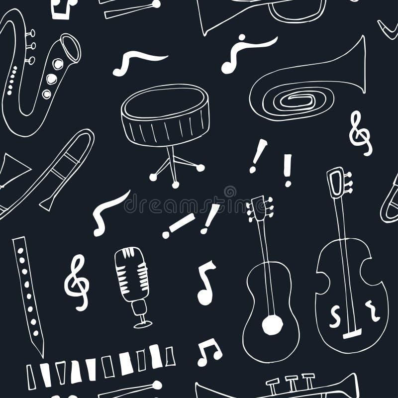 Teste padrão sem emenda do vetor dos instrumentos musicais do jazz ilustração royalty free