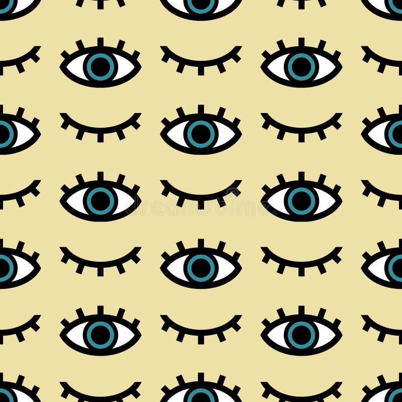 Teste padrão sem emenda do vetor dos olhos abertos e fechados no fundo amarelo ilustração do vetor