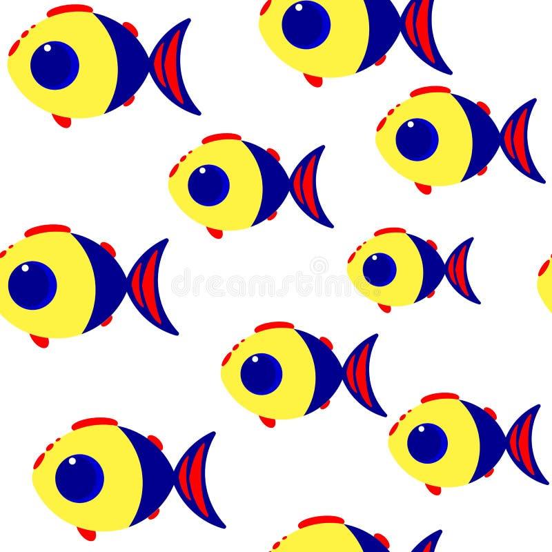 Teste padrão sem emenda do vetor dos peixes dos desenhos animados ilustração royalty free