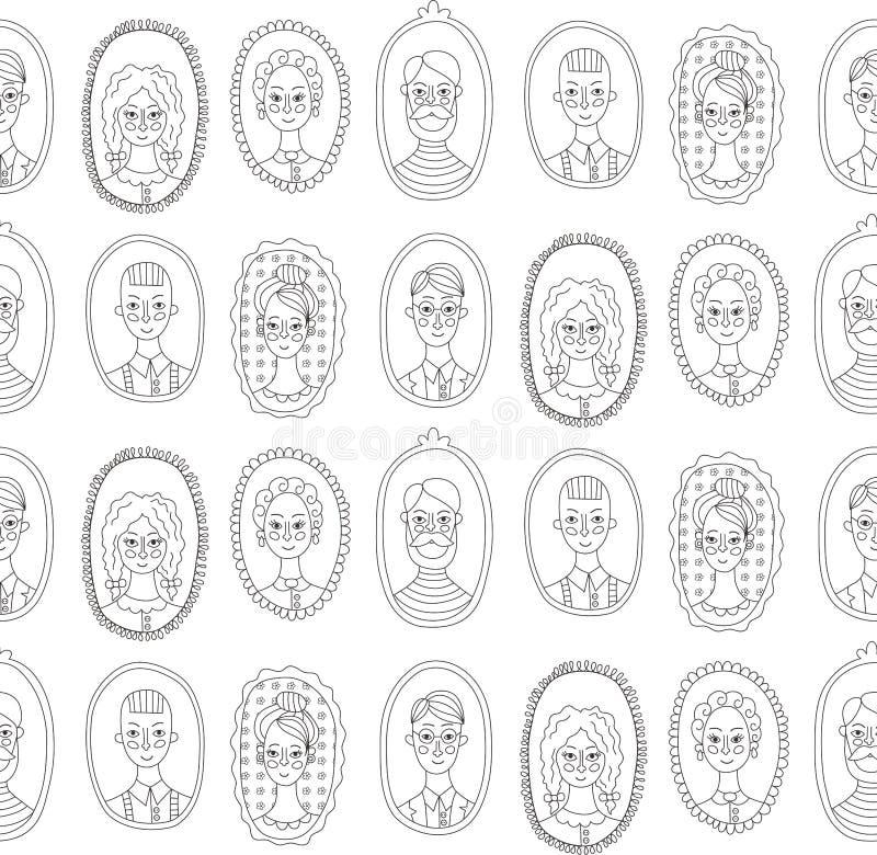 Teste padrão sem emenda do vetor dos retratos da família ilustração royalty free