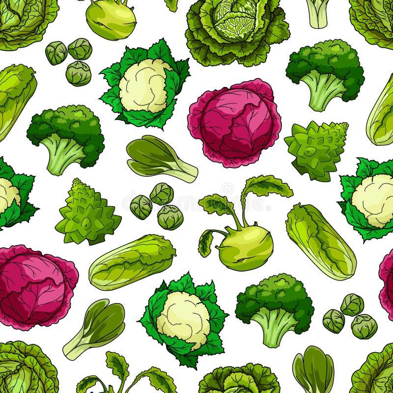 Teste padrão sem emenda do vetor dos vegetais da couve ilustração royalty free