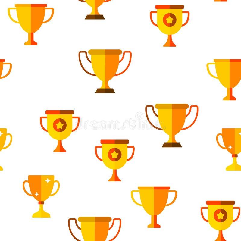 Teste padrão sem emenda do vetor dourado do copo do troféu ilustração stock