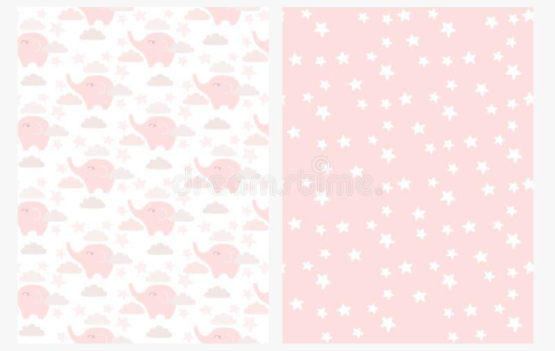 Teste padrão sem emenda do vetor do elefante bonito do bebê Elefantes cor-de-rosa pequenos bonitos entre nuvens em um fundo bra ilustração stock