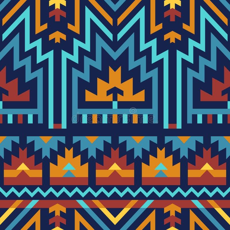 Teste padrão sem emenda do vetor em tribal: Azul & Brown ilustração stock