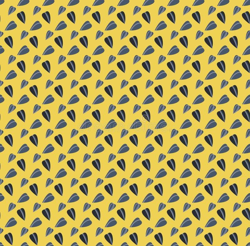 Teste padrão sem emenda do vetor engraçado amarelo com sementes de girassol ilustração stock