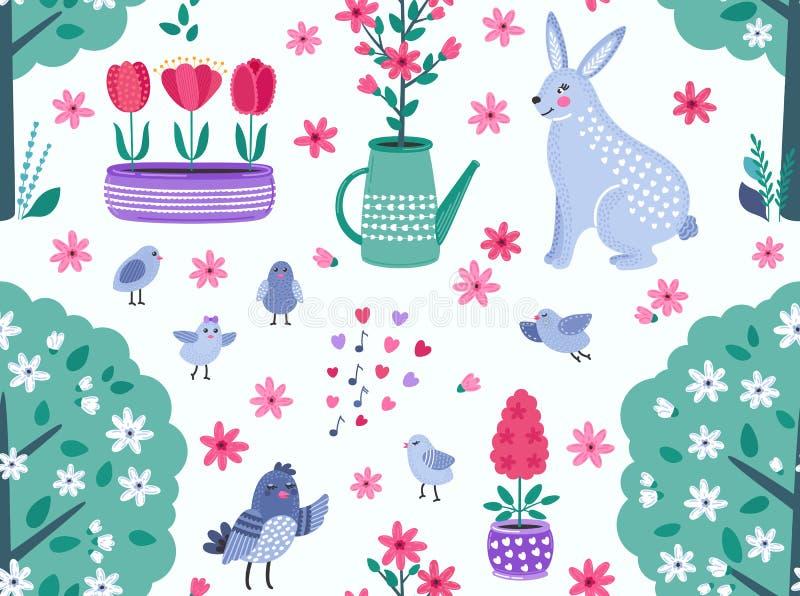 Teste padrão sem emenda do vetor engraçado colorido da mola com flores, pássaros e coelho ilustração stock