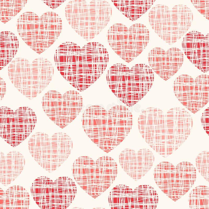 Teste padrão sem emenda do vetor esboçado com corações ilustração royalty free