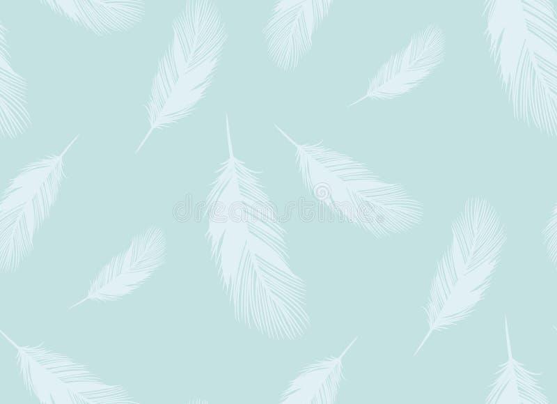 Teste padrão sem emenda do vetor do esboço das penas de pássaros macios ilustração do vetor