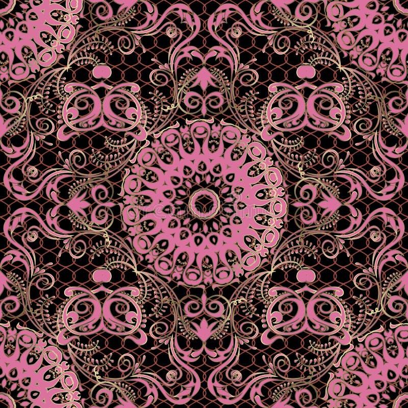 Teste padrão sem emenda do vetor floral do Arabesque Fundo decorativo do damasco do laço Flores cor-de-rosa do vintage da elegânc ilustração royalty free