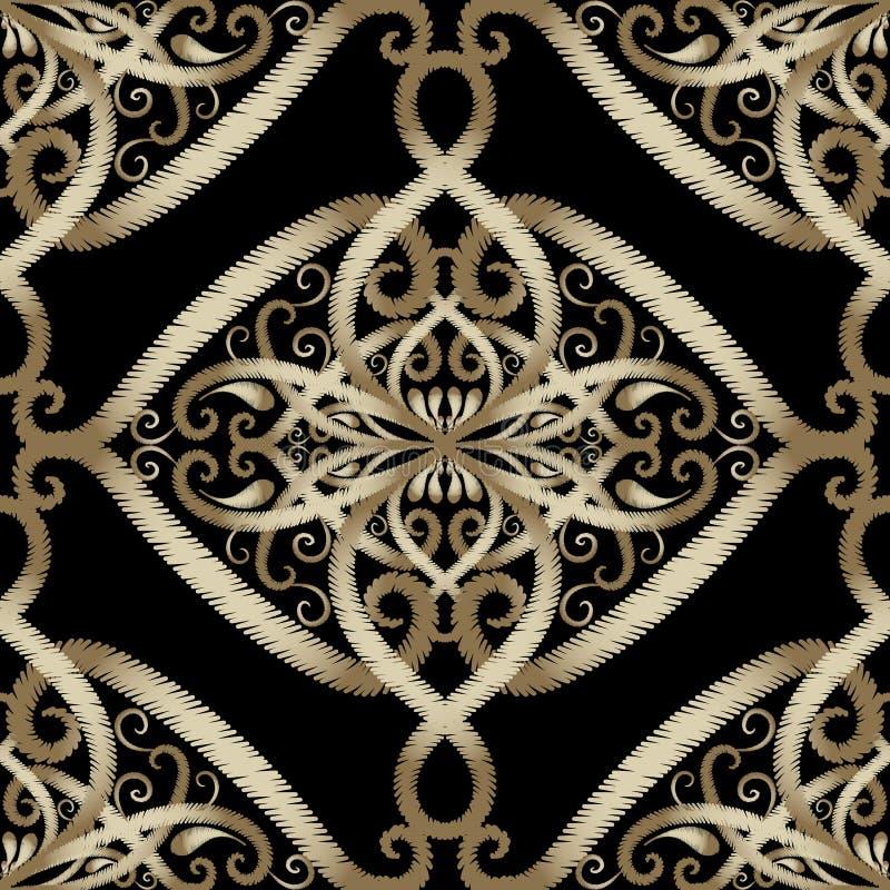 Teste padrão sem emenda do vetor floral do bordado Grunge árabe P do estilo ilustração stock