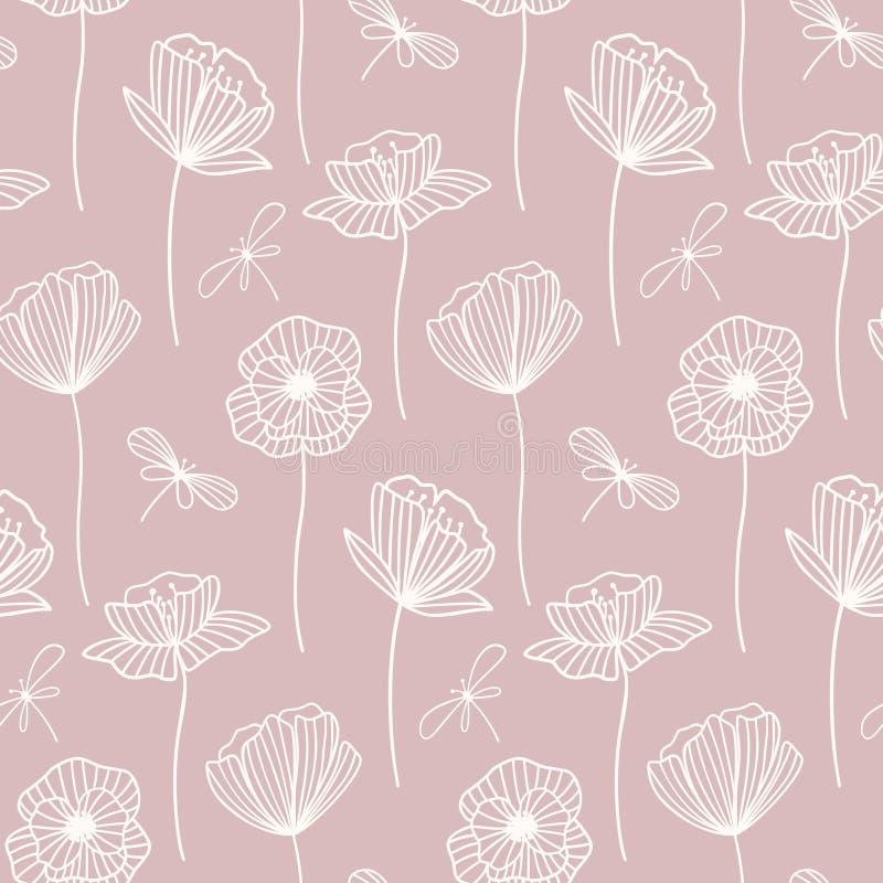 Teste padrão sem emenda do vetor floral com flores da papoila ilustração stock