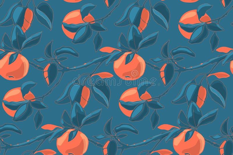 Teste padrão sem emenda do vetor floral da arte com maçãs do outono ilustração stock