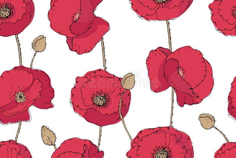 Teste padrão sem emenda do vetor floral da arte ilustração royalty free