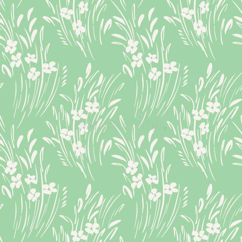 Teste padrão sem emenda do vetor floral gestural ditsy monocromático branco do sumário Flores da mola, folha ilustração stock