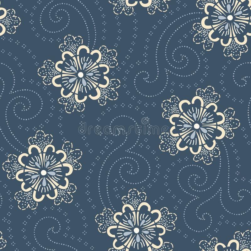 Teste padrão sem emenda do vetor floral japonês desenhado à mão do índigo Flores tradicionais do estilo de Katazome Katagami ilustração do vetor