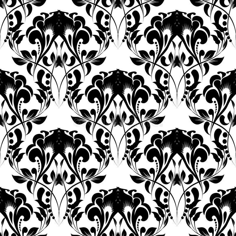 Teste padrão sem emenda do vetor floral preto e branco do vintage Fundo bonito decorativo do damasco Estilo barroco antigo do ren ilustração royalty free