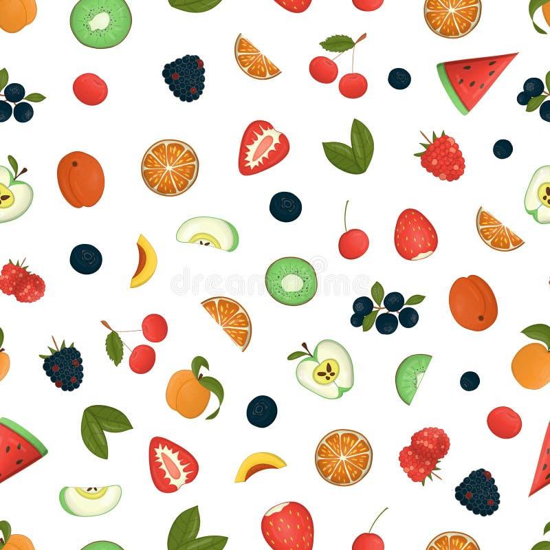Teste padrão sem emenda do vetor do fruto e das bagas ilustração stock