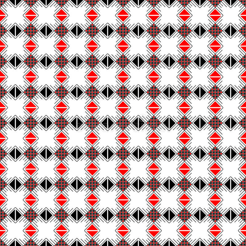Teste padrão sem emenda do vetor Fundo abstrato geométrico simétrico com quadrados, retângulos e linhas em c preto, branco, verme ilustração do vetor